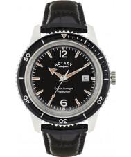 Rotary GS02694-04 reloj de la correa de cuero negro para hombre relojes del océano vengador