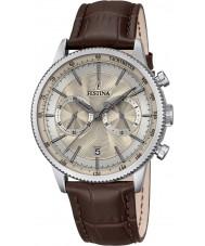 Festina F16893-7 Para hombre reloj cronógrafo de cuero marrón retro