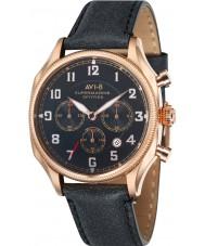 AVI-8 AV-4025-04 reloj cronógrafo correa de cuero negro para hombre supermarine seafire