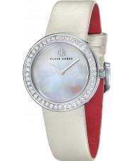 Klaus Kobec KK-10021-01 Damas centavo correa de cuero blanco reloj con bisel de cristal