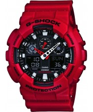 Casio GA-100B-4AER Mens g-shock tiempo del mundo reloj de correa de resina roja