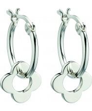 Orla Kiely E5226 Señoras de plata de ley pendientes de aro de cuatro puntos de la flor de plata