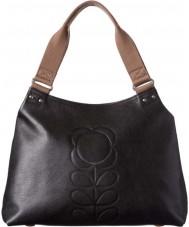 Orla Kiely 0LEAEFS024 Damas clásico tallo de la flor en relieve negro con cremallera bolsa de hombro