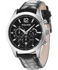 Police 12757JS-02 Mens ohio de cuero negro reloj de la correa