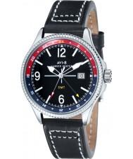 AVI-8 AV-4007-03 reloj de la correa de cuero negro para hombre Hawker Hunter