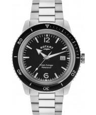 Rotary GB02694-04 Mens relojes océano vengador reloj de acero de plata negro