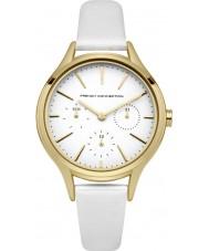 French Connection FC1273WG reloj de la correa de cuero blanco de las señoras