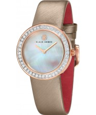 Klaus Kobec KK-10021-04 Damas centavo correa de cuero beige reloj con bisel de cristal