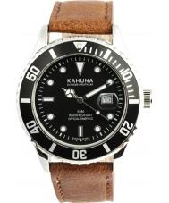 Kahuna KUS-0103G Reloj para hombre de la correa de cuero marrón