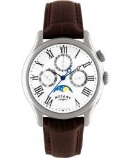 Rotary GS02838-01 relojes para hombre Fase lunar reloj correa de cuero marrón