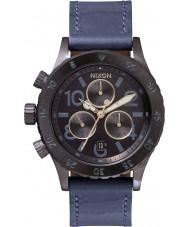 Nixon A504-1930 Las señoras reloj cronógrafo de la correa de cuero azul 38-20