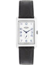 Rotary GS02697-21 plata para hombre relojes portland de cuero negro reloj de la correa