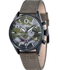 AVI-8 AV-4031-08 Mens Hawker Harrier reloj de la correa de cuero verde cronógrafo ii ejército