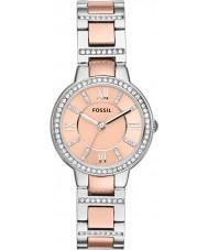 Fossil ES3405 Las señoras Virginia oro y plata reloj rosa
