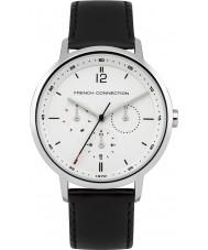French Connection FC1276B Reloj para hombre de la correa de cuero negro