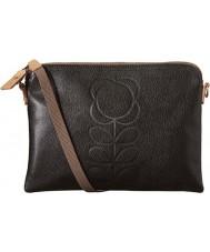 Orla Kiely 0LEAEFS136 madre clásica de las señoras de la flor en relieve bolsa de viaje negro