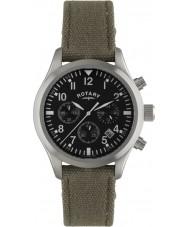 Rotary GS02680-19 reloj de la correa de lona de color caqui relojes piloto cronógrafo para hombre