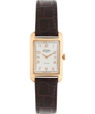Rotary LS02699-01 Relojes de la vendimia se ven portland reloj de la correa de cuero marrón