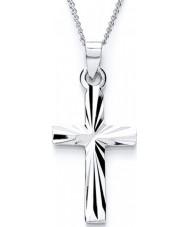 Purity 925 PUR0807-3 Señoras de corte diamante cruz collar de plata esterlina