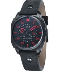 AVI-8 AV-4009-03 reloj de la correa de cuero negro para hombre Hawker Hunter