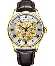 Rotary GS02941-03 Mens relojes chapado en oro reloj mecánico esqueleto marrón