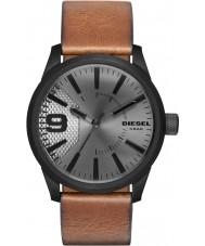 Diesel DZ1764 reloj de la correa de cuero marrón para hombre de la luz escofina