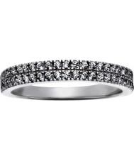 FROST by NOA 145043-56 Damas Rodio plateado anillo con dos filas de cz - p tamaño