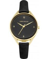 Karen Millen KM130BG reloj de la correa de cuero negro de las señoras