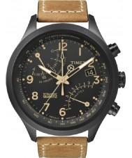 Timex T2N700 Para hombre reloj cronógrafo negro tan fly-back