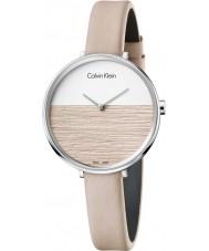 Calvin Klein K7A231XH Las señoras se levantan reloj de la correa de cuero beige