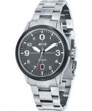 AVI-8 AV-4021-12 Mens aviador automático de plata reloj pulsera de acero