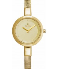 Obaku V129LXGGMG Señoras de oro plateado de malla delgada reloj pulsera