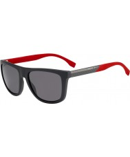 HUGO BOSS Mens jefe 0834-s hws 3h gafas de sol polarizadas de color rojo gris oscuro