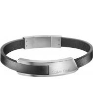 Calvin Klein KJ4MBB090100 Mens chocan pulsera de cuero negro