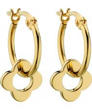 Orla Kiely E5229 el oro de las señoras de plata esterlina cuatro pendientes flor de punto