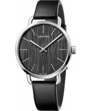 Calvin Klein K7B211C1 Para hombre, incluso reloj correa de cuero negro
