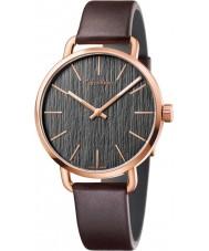 Calvin Klein K7B216G3 Para hombre, incluso reloj de la correa de cuero marrón