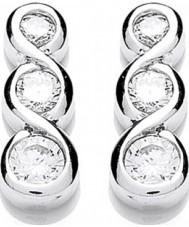 Purity 925 PUR1310ES Señoras libras esterlinas aretes de plata con la CZ