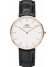 Daniel Wellington DW00100041 Señoras 36mm lectura clásica de cuero negro reloj de la correa