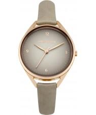 Karen Millen KM130ERG reloj de la correa de cuero gris damas