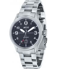 AVI-8 AV-4021-11 Mens aviador automático de plata reloj pulsera de acero