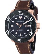 Swiss Eagle SE-9073-02 Los hombres dan abismo de cuero marrón cosido reloj de la correa