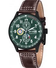 AVI-8 AV-4011-05 Mens huracán del vendedor ambulante de cuero marrón correa de reloj cronógrafo