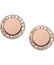 Fossil JF01792791 Damas clásica rosa de acero reflejado aretes de oro