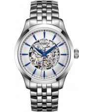 Rotary GB05032-06 Para hombre de acero tono plateado reloj mecánico esquelético