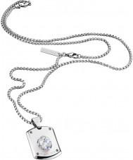 Police 25552PSS-01 collar de acero de plata para hombre de la cabeza de cristal con el cristal