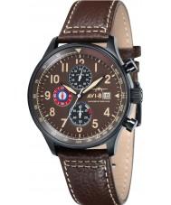 AVI-8 AV-4011-07 Mens huracán del vendedor ambulante de cuero marrón correa de reloj cronógrafo