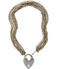 Fossil JA4726998 Señoras de oro PVD collar plateado