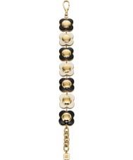 Orla Kiely B4796 Señoras de 18 quilates de oro blanco y negro en cadena de pulsera de flores