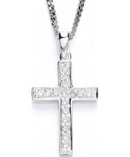 Purity 925 PUR1489P Damas cruzan el collar de plata esterlina con CZ